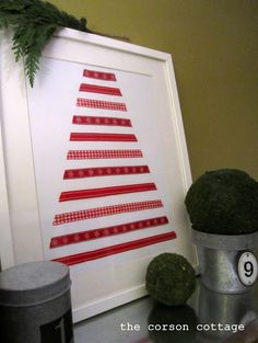 Ribbon Christmas Tree Art.  A fun project to do with the kids.  I can see this in greens with buttons for the ornaments.  Cute, cute!!!