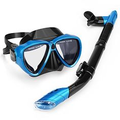 INTEY Snorkel Set with Tempered Glass Diving Mask, Dry Top Snorkel with Purge Valve and Anti-Fog Lens - http://scuba.megainfohouse.com/intey-snorkel-set-with-tempered-glass-diving-mask-dry-top-snorkel-with-purge-valve-and-anti-fog-lens/