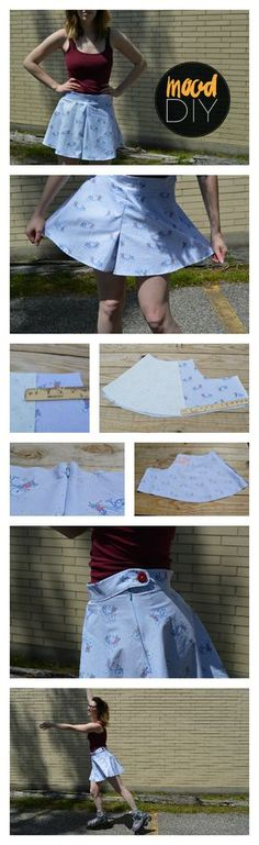 Shorts season is finally happening! However, if you love skirts, this can pose a problem. These brilliant bottoms look like… Sewing Patterns Free, Sewing Tutorials, Clothing Patterns, Dress Tutorials, Sewing Pants, Sewing Clothes, Dress Sewing, Barbie Clothes, Pleated Skirt Pattern
