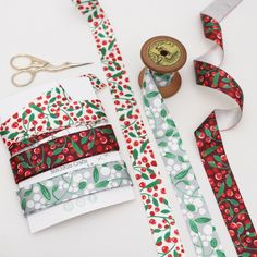 Woodland Berry, Christmas Ribbon Collection - 2 meters of each