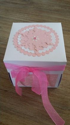 Pink and white christmas explosion box.