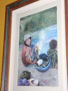 LUISA D'ACRI --  Trabalho em Pastel seco - 1994 - Jovem boliviana lavando roupa no rio.