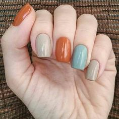fall nail colors,best fall colors for nails,nail art fall nails trend Nail art for fall 2019 is all about the intersection of subtlety and excess. with your nails. Pretty Nail Colors, Fall Nail Colors, Nail Polish Colors, Grey Colors, One Color Nails, Different Color Nails, Pastel Colors, Gel Polish, Blue Nails