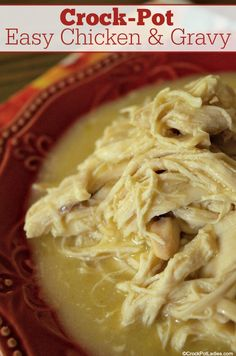 Crock-Pot Easy Chicken & Gravy - Serve this family favorite recipe for Crock-Pot Easy Chicken & Gravy over mashed potatoes, egg noodles or rice and they will be coming back for more! Crock Pot Slow Cooker, Crock Pot Cooking, Slow Cooker Recipes, Cooking Recipes, Crock Pots, Crockpot Chicken And Gravy, Chicken Recipes, Chicken Gravy Over Mashed Potatoes Recipe, Low Sodium Recipes