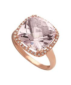The Brian Danielle pink sapphire ring 14k rose-gold band and setting -onal 36 diamonds accent   .5 inch x .5 inch Sapphire 9 tcw Diamond .13 tcw  $750
