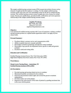 Certified Nursing Assistant Resume Examples Sample Cover Letter Computer Science  Resume Template  Pinterest .