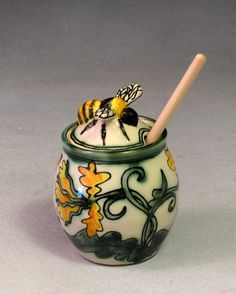 Lucky Rabbit Pottery - Yellow Honey Jar with Bee Lid  - Beautiful  work ...