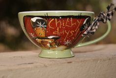 Hand Painted Country Snowman Melamine Teacup by Ramshackles, $6.95