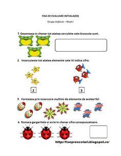 FISE de Evaluare Initiala grupa MIJLOCIE - DS - DLC - DOS | Fise de lucru - gradinita Preschool Activities, Worksheets, Kindergarten, 1 Decembrie, Blog, David, Album, Kindergartens, Blogging