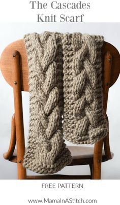 The Cascades Knit Scarf via @MamaInAStitch - A simple braided cable big knit scarf. Modern and pretty #freepattern #diy #crafts