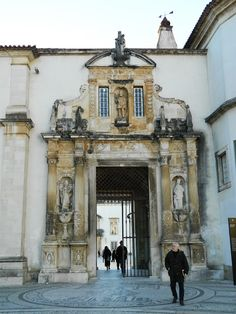 """Door """"Porta Ferrea"""" - University of Coimbra, Established in it is one of the oldest universities in continuous operation in the world and the oldest university of - Visit Portugal, Spain And Portugal, Portugal Travel, Coimbra University, Coimbra Portugal, Famous Places, Classical Architecture, Beautiful Places To Visit, Portuguese"""