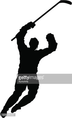 Silhouette of a hockey player celebrating after a goal. Simple shapes for easy printing, separating and color changes. File formats: EPS and JPG Hockey Crafts, Hockey Decor, Silhouette Sport, Silhouette Vector, Stencils, Stencil Templates, Hockey Tournaments, Hockey Players, Hockey Centerpieces