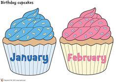 Birthday Cupcakes Classroom Display Birthday Display In Classroom, Birthday Wall, Birthday Display Board, Birthday Cupcakes, Classroom Birthday Displays, Classroom Fun, Birthday Chart For Preschool, Birthday Charts, Birthday Calendar Classroom