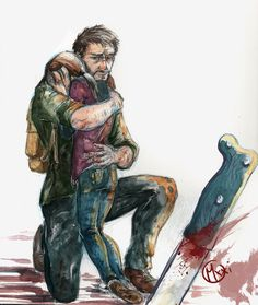 "The last of us "" winter's end [Joel and Ellie ] Crying Girl Drawing, Joel And Ellie, The Last Of Us2, Edge Of The Universe, Dc Anime, Fan Art, Best Games, Drawing Reference, Comic Art"