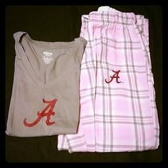 Alabama Crimson Tide  PJ set Alabama Crimson Tide PJ set. Gray t-shirt, v-neck. Lightweight/soft/comfy. Pink/white/gray plaid pants. Elastic waistband with drawstring. Flannel, soft/comfy. Perfect  lounge wear. Both are size M. Worn very little. No holes, stains, etc. Still in great condition! Intimates & Sleepwear Pajamas