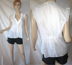 BCBG MAXAZRIA 100% Cotton Striped Sheer Gauze Ruffled White Top Blouse S...see more details at this link - http://stores.shop.ebay.com/vintagefluxed