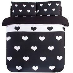 YOYOMALL Simple White and Black Heart-shaped Duvet Cover Set,Sheet Sets for Teens,Cotton Bedding Sets 4Pcs Twin Full Queen Size (Twin, Fitted sheet style) Kids Bedding http://www.amazon.com/dp/B010THNYO2/ref=cm_sw_r_pi_dp_pZOaxb0AC8MG0