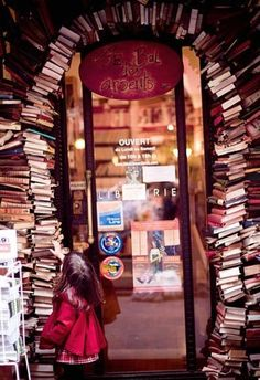 "Entrance of the bookstore ""Le Bal des Ardents"" in Lyon, France. Brilliant."