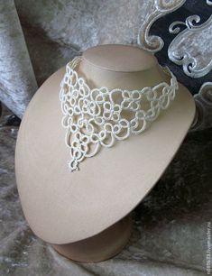Tatting Necklace, Tatting Jewelry, Thread Jewellery, Lace Jewelry, Crochet Necklace, Needle Tatting, Tatting Lace, Needle Lace, Bobbin Lace