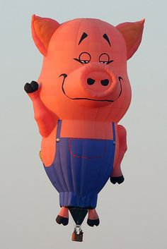 """""""Farmer Pig"""" hot air balloon in Joure, The Netherlands Air Ballon, Hot Air Balloon, Albuquerque Balloon Festival, Balloon Pictures, Air One, Balloon Rides, Christmas Characters, Helium Balloons, Photo Illustration"""