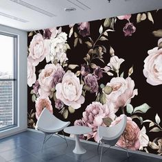 Custom Photo Wallpaper Mural Hand Painted Black White Rose Peony Flower Wall Mural Living Room Home Decor Painting Wall Paper(China) 3d Wallpaper Mural, Silk Wallpaper, Photo Wallpaper, Black Wallpaper Bedroom, Wallpaper Furniture, Painting Wallpaper, Custom Wallpaper, Peonies Wallpaper, Flower Wallpaper