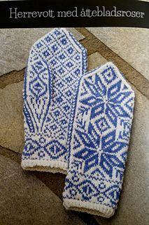 Ravelry: Herrevott med åttebladsroser pattern by Monica Værholm Knitting Charts, Loom Knitting, Knitting Stitches, Knitting Designs, Knitting Patterns, Mittens Pattern, Knit Mittens, Knitted Gloves, Fingerless Gloves
