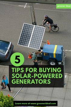 5 Buying Tips for Solar-Powered Generators Renewable Energy, Solar Energy, Solar Powered Generator, Green Living Tips, Electrical Engineering, Electrical Wiring, Solar Power System, Science Fair Projects, Sustainable Energy