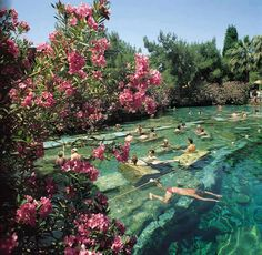 Ancient Thermal Pool, Pamukkale, Turkey - Cleopartra's Pool. Swim in the ruins!
