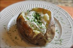 You can make an Outback Steakhouse Baked potato just like they do. This recipe features a potato with a crispy skin on the outside, and a fluffy inside.