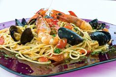 Although the background and history of the first seafood and pastas dish is not known, history of the ingredients defines the earliest possible time the combination could have existed. Italian Dishes, Italian Recipes, Wine Recipes, Pasta Recipes, Kitchen Confidential, Italian Cooking, Pasta Dishes, Seafood, Brunch