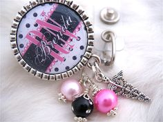 RN BADGE REEL Personalized Hot Pink and Black Polka dot Id, Nicu, Lpn, Lmt, Bsn Accessory, Holder Pull, Medical Nurse Graduate. $19.00, via Etsy.