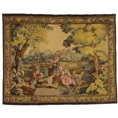 Late 19th Century Antique Tapestry with Old World Charm & French Colonial Style.