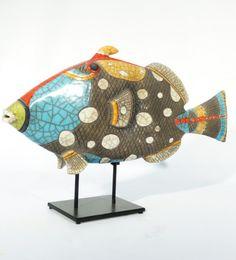 MAN OF EARTH Baliste léopard multicolore carbone ciré Céramique d'art Raku Les poissons statues et décoration céramique d art - Paris France