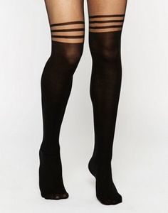 ASOS 3 Stripe Over The Knee Tights With Support