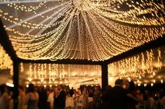this is nuts...insanely great use of christmas lights as a draped ceiling in a tent reception