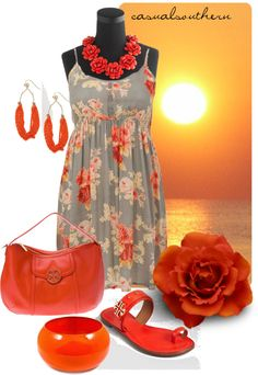 """Orange Roses"" by casualsouthern ❤ liked on Polyvore"