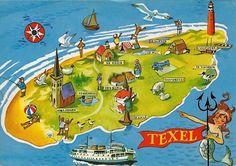 Geïllustreerde kaart van Texel
