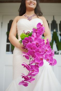 Fuchsia Phalaenopsis orchid bouquet
