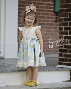 Create Kids Couture - Nadia's Square Neck Dress PDF Pattern.The sweet and simple Nadia dress, with its fully lined trendy square neck bodice and dainty flutter sleeves is a must have crowd pleaser. With no elastic or ties, the Nadia dress is the perfect fit for any picky little one.