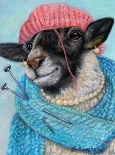 Sheep scarf hat Knitting yarn ACEO print from original oil by Joy Campbell Cabras Animal, Sheep Art, Illustration Art, Illustrations, Knitting Humor, Knitting Yarn, Knit Art, Sheep And Lamb, Animal Paintings