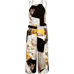Beige print strappy cropped jumpsuit £45.00