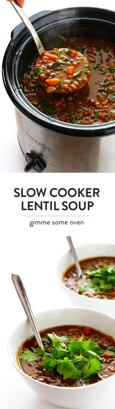 This Slow Cooker Curried Lentil Soup only takes about 10 minutes to prep, then let the crock-pot do the rest of the work to make this delicious, healthier vegetarian comfort food. | gimmesomeoven.com (Gluten-Free / Vegetarian / Vegan)