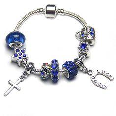 Pandora shiny royal blue beads sapphire european bracelet silver