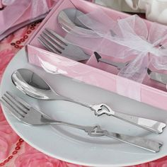 Wholesale Stainless Steel Fork & Spoon Set Wedding Party Favor Gift | eFavorMart / The very sight of these complimenting fork and spoons with the most enticing heart shaped center will evoke those treasured memories of romantic times together in the company of your special someone. When he swirled the spaghetti around the tines of a fork with a tomato and mushroom and lovingly placed it into your mouth, leaving some sauce smeared on your lips, while you scooped his favorite chocolate crunch…