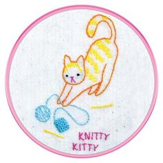 The Knitty Kitty hand embroidery pattern is the perfect project for beginners to learn surface embroidery.  This adorable tiger-striped kitten looks up with guilty eyes as he unwinds the yarn ball attached to the stray knitting project!  You will have a blast stitching this sweet little kitten!