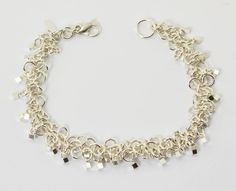 """Square Cube Dangle Sterling Silver """"Shaggy Loop"""" Chainmaille Bracelet"""