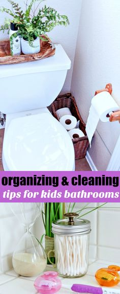 Tips for organizing and cleaning elementary aged kids bathrooms. Home | House | Cleaning | Organizing
