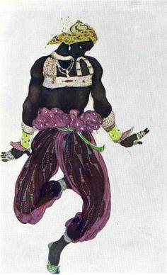 By Leon Bakst, 1 9 1 0, Scheherazade negre argent. (Ballet Russe)