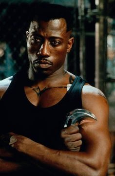 """Wesley Snipes as the title character in """"Blade"""". He has been training in martial arts since the age of earning a dan black belt in Shotokan Karate and dan black belt in Blade Film, Blade Movie, Marvel Comic Universe, Marvel Dc, Gi Joe, Eric Brooks, Blade Marvel, Day Walker, Black Vampire"""