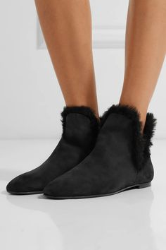 The Row | Eros shearling-trimmed nubuck ankle boots | NET-A-PORTER.COM